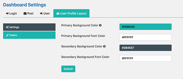 How to customise the layout colours in Frontend Dashboard